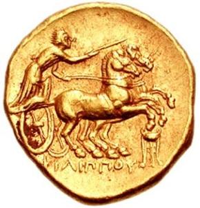 Biga de dois cavalos e um cocheiro em moeda greco-macedônica(323-319)