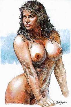 Os desenhos eróticos de Serpieri usam de todo o volume necessário para o tipo de nossa percepção atual
