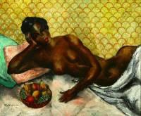 Mulher negra reclinada, do pintor russo Abraham Baylinson